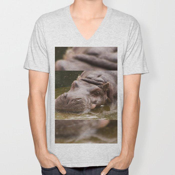 Huge bored Hippopotamus Unisex V-Neck
