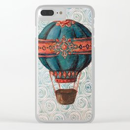 Vintage Hot Air Balloon: Navy and Coral Clear iPhone Case