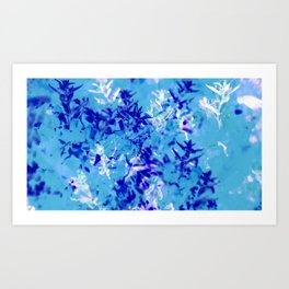 Blue and white abstract floral design Art Print