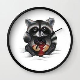 Raccoon with Hot Chocolate Wall Clock
