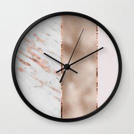 Rose metallic striping - marble and blush Wall Clock