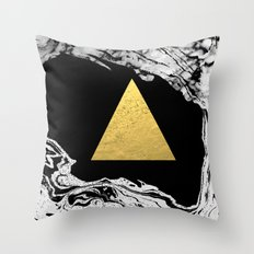 Davina - triangle modern minimal marble black and white foil gold abstract painting trendy bklyn  Throw Pillow
