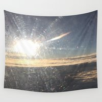 airplane Wall Tapestries featuring Airplane Window by Christina Hand