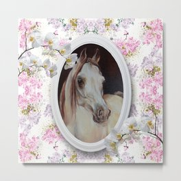 White orchids & Arabian mare Metal Print