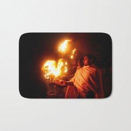 Fire on the Ganga River Bath Mat
