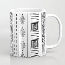 Mud Cloth White and Black Vertical Pattern Coffee Mug