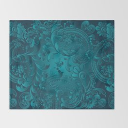 Metallic Teal Floral Pattern Throw Blanket