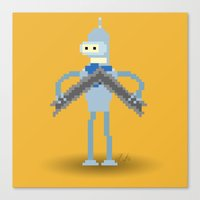 bender Canvas Prints featuring Pixel Bender by Paul Scott (Dracula is Still a Threat)
