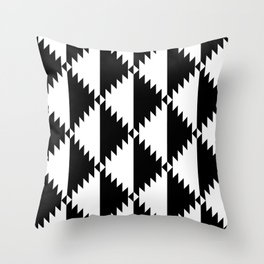 Aztec 3 B&W Throw Pillow