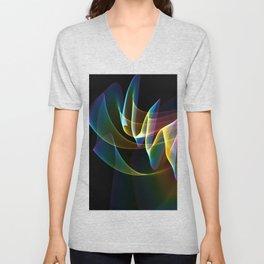Northern Lights, Abstract Fractal Rainbow Aurora Unisex V-Neck