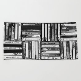 Music Cassette Stacks - Black and White - Something Nostalgic IV #decor #society6 #buyart Beach Towel