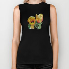 Bright Yellow Tulips Flower Drawing Biker Tank