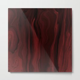Marblesque Black and Red - Abstract Art Marble Series by Jennifer Berdy Metal Print