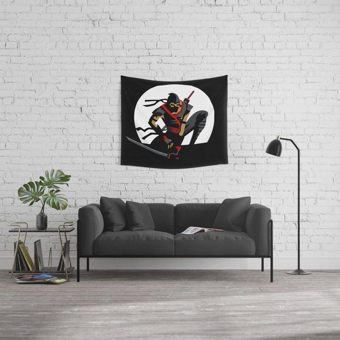ninja warrior and full moon Wall Tapestry