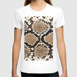Pastel brown black white snakeskin animal pattern T-shirt