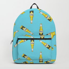 Corona Beer Bottle Abstract Pattern, Pop-Art Blue and Yellow Backpack