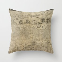 Vintage Map Print - 1630 map of Italy by Matthaeus Greuter, published in 1657 by Stefano Scolari Throw Pillow