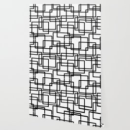Interlocking Black Squares Artistic Design Wallpaper