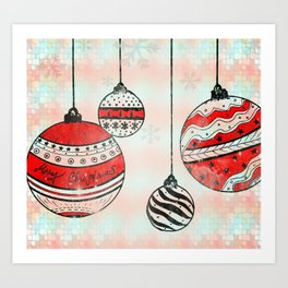 Christmas Tree Ornaments- RED Art Print