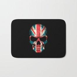 British Flag Skull on Black Bath Mat