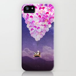 NEVER STOP EXPLORING IV PINK BALLOONS iPhone Case