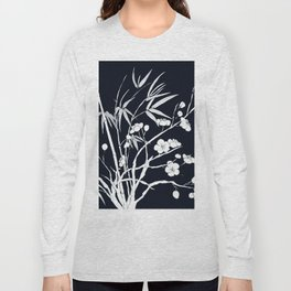 bamboo and plum flower white on black Long Sleeve T-shirt