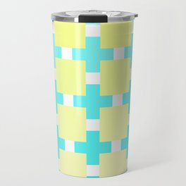 A mosaic in pastel blue and beige color Travel Mug