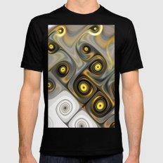 Fractal Design Yellow Spiral Mens Fitted Tee MEDIUM Black