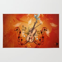 Violin with violin bow and dove Rug