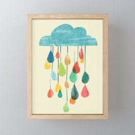 cloudy with a chance of rainbow Framed Mini Art Print