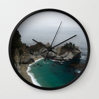 big sur Wall Clocks featuring Big Sur McWay Falls by David Hohmann