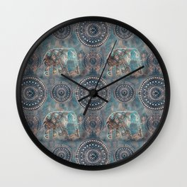 Elephant Ethnic Style Pattern Teal and Copper Wall Clock