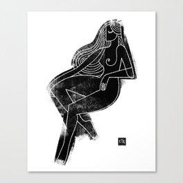 Seated Figure Black Canvas Print