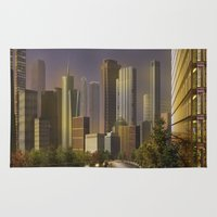 cityscape Area & Throw Rugs featuring Cityscape by Viggart