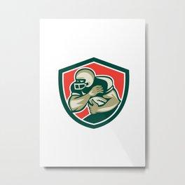 American Football Running Back Fending Shield Metal Print