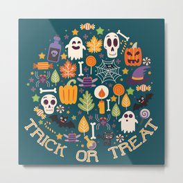 Retro Halloween Trick-Or-Treat Collage Metal Print