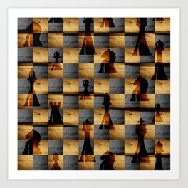 Wooden Chessboard and Chess Pieces  pattern Art Print