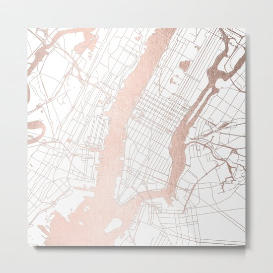 New York City White on Rosegold Street Map Metal Print