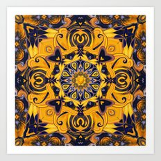 Flame Hearts in Blue and Gold Art Print