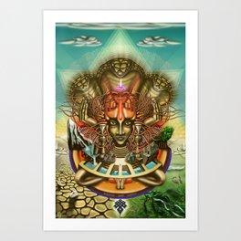 Young Sadhu's visionary pilgrimage Art Print