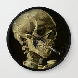 SKULL OF A SKELETON WITH BURNING CIGARETTE - VINCENT VAN GOGH Wall Clock
