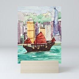 Hong Kong Victoria Harbour Aqua Luna Mini Art Print