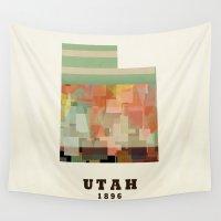 utah Wall Tapestries featuring Utah state map modern by bri.buckley