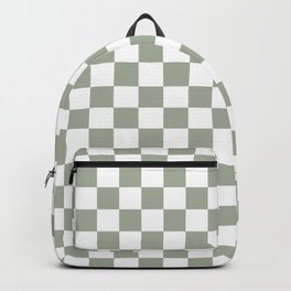 Large Desert Sage Grey Green and White Check Backpack
