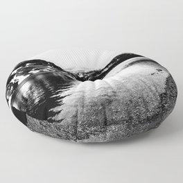 Black and White Mountains Floor Pillow