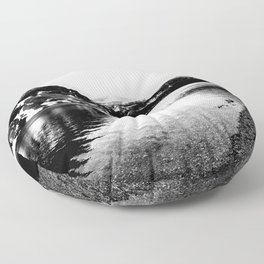 Black and White Mountains Floor Pillow