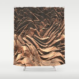 Macro Copper Abstract Shower Curtain