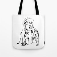 iggy Tote Bags featuring Iggy by Liz Cowling
