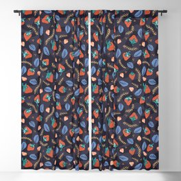 Winter Berries and Strawberries Blackout Curtain