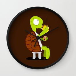 Turtle drinking tea with cookies. Wall Clock